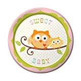 Creative Converting Happi Tree Sweet Baby Girl Round Dessert Plates, 8 Count