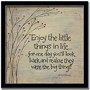 Enjoy The Little Things In Life Sign Art Print Framed Picture Wall Decor