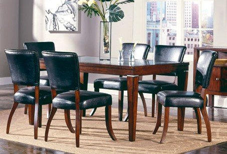 7pc Carnation Collection Solid Wood Dining Table & 6 Chairs Set