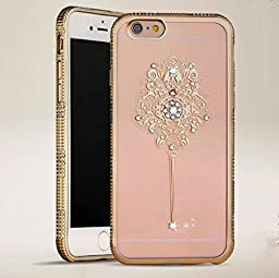 iPhone 6 Plus Case,Inspirationc® Bling Rhinestone Clear Rubber Plating Frame TPU Soft Silicone Bumper Case Cover for iPhone 6 Plus/6S Plus 5.5 Inch--YUZAN Gold
