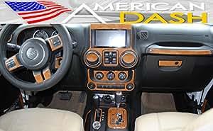 Jeep Wrangler Unlimited Interior Burl Wood Dash Trim Kit Set 2011 2012 2013 2014