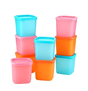 ONEONEY Plastic Lunch Boxes Mini Dippers Small Dip, Condiment, or Sauce Containers, Leak-Resistant, Set of 5 in Mixed Colors