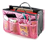 Lady Women Travel Insert Handbag Organiser Purse Large Liner Organizer Tidy Bag-Pink