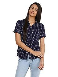 Mayra Women's Rayon Shirt (1604T09386_XL Navy Blue )