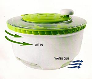Dexas Deluxe Salad Spinner with Turbo Fan Dryer and Big 10 Inch Bowl by Dexus