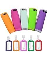 Cosmos ® 5 PCS Comfort Neoprene Handle Wraps/Grip / Identifier for Travel Bag Luggage Suitcase + 5 PCS Travel Accessories Luggage Tag Identifier