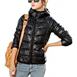 DJT Womens Packable Hooded Ultralight Down-Jacket with Wave Quilting