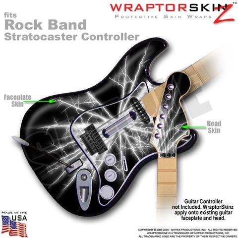 Lightning White WraptorSkinz Skin fits Rock Band Stratocaster Guitar for Nintendo Wii, XBOX 360, PS2 & PS3 (GUITAR NOT INCLUDED)