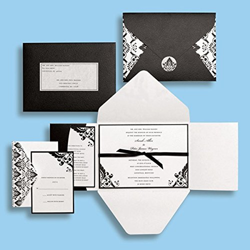 Black and White Damask Wedding Invitations Kit - Brides Magazine - Gartner - 15 count