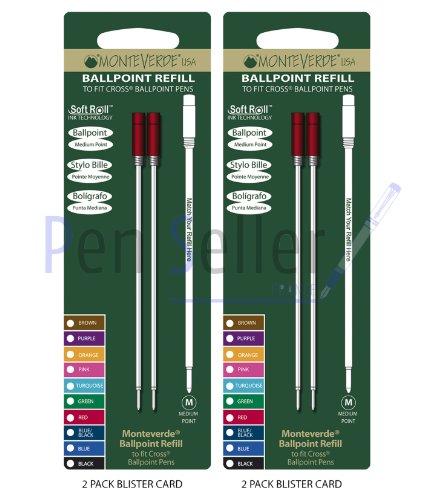 Monteverde: 4 Recharges Bille Soft Roll Rouge Compatible Cross, Pointe: M, Livrées en Blister (2 Blisters de 2 Recharges Chacun).