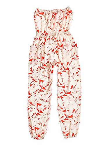 Roxy Juniors Funnel Of Love Printed Woven Romper, Fiery Orange Shelter Floral Pattern, Medium