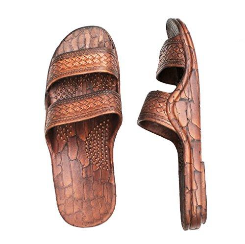 Hawaii Brown or Black Jesus sandal Slipper for Men Women and Teen Classic Style (8, Brown)