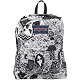 "JanSport Superbreak Backpack - Black/White Free Spirit / 16.7""H x 13""W x 8.5""D"