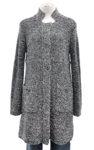 Eileen Fisher Grey Wool And Cashmere Blend Knit Button Front Long Sweater Large