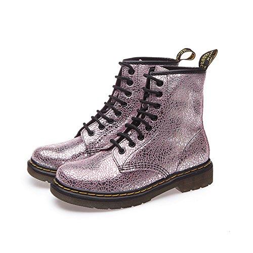 WHH Autunno donna e inverno moda stivali in vera pelle, Martin stivali, stivali tacco basso , pink , 36