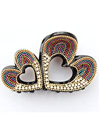 Yumi Handcrafted Designer Jumbo Clip 9 Cms - Multi Double Heart Clips / Clutchers