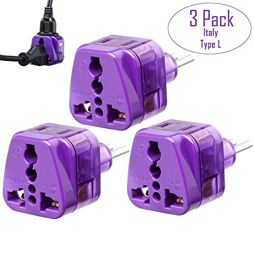 Yubi Power Universal A/C Travel Plug Adapter – Type L – Good for Italy, Chile, Uruguay – With Dual Plug in Ports -Three Pack Adapter Set – Purple