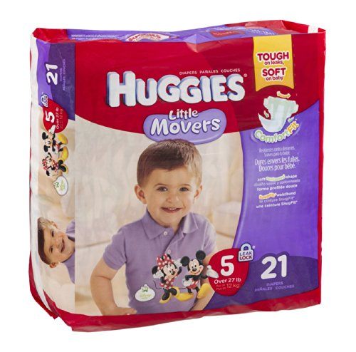 Huggies Diapers Little Movers Disney Size 5 (Over 27 lb) 21 CT (Pack of 4) - 1