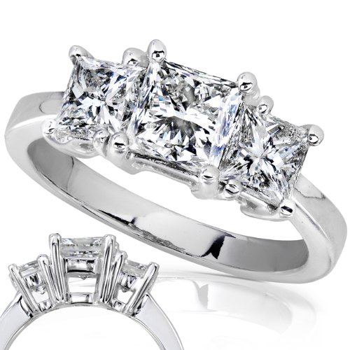 Three Stone Princess Cut Diamond Ring 2.00ctw (HI/SI) in 14K White Gold  Size 7