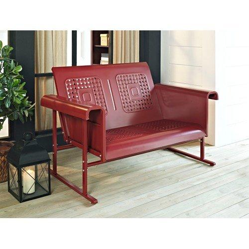Red Retro Veranda Loveseat Glider - Classic Comfort Your Special Deals - Strathwood Griffen All