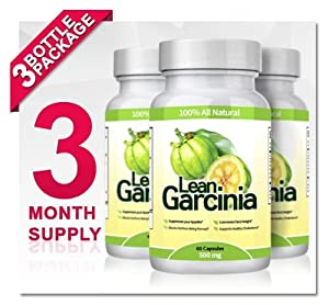 Lean Garcinia Cambogia Extract - 3 Bottles (Featuring Lean Clinically-proven, Multi-patented 60% HCA Extract for Weight-loss & Appetite Control) 1,000 Mg Per Serving by Lifestyle Research Labs