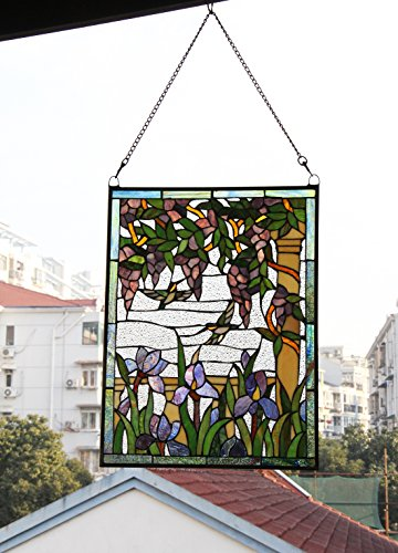 Makenier Vintage Tiffany Style Stained Art Glass Wisteria and Hummingbirds Window Panel Wall Hanging 5