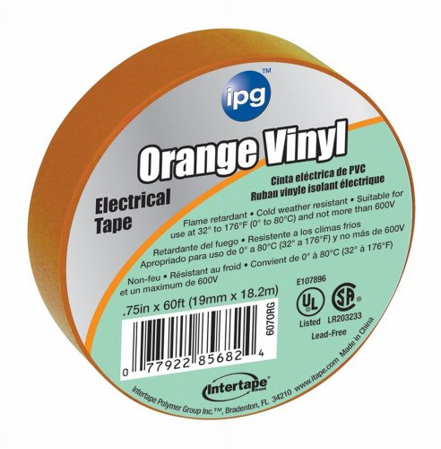 Intertape 85834 .75 In. X 60 Ft. Vinyl Electrical Tape, Orange 36 Pack