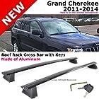 Grand Cherokee 11-14 Black Roof Top Rack Cross Bar Luggage Carrier Aluminum Pair