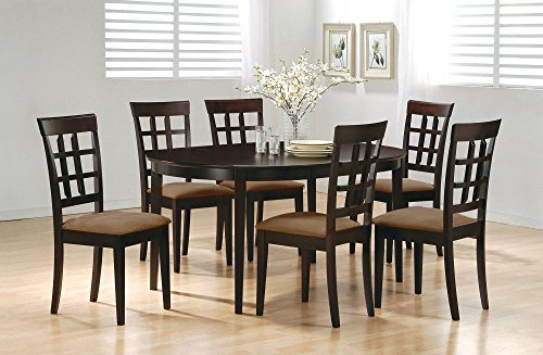 7pc Contemporary Cappuccino Finish Solid Wood Dining Table Chairs Set Oval Interlock (Dining Table Chairs Set Of 6 compare prices)
