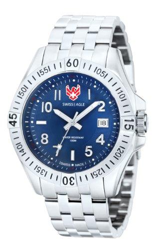 SWISS EAGLE SE-9021-22 - Reloj para hombres, correa de acero inoxidable