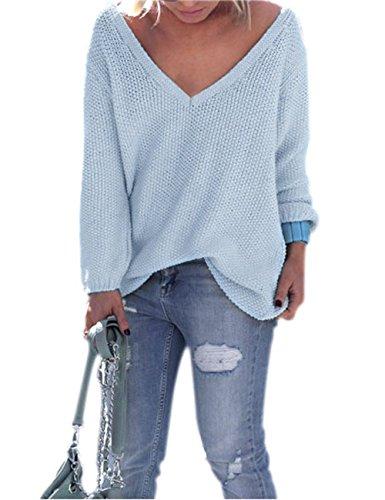 Yidarton Donne Manica Lunga Con Scollo A V Allentato Lavorato A Maglia Maglione Ladies Maglione Casuale Tops (L, Blu)