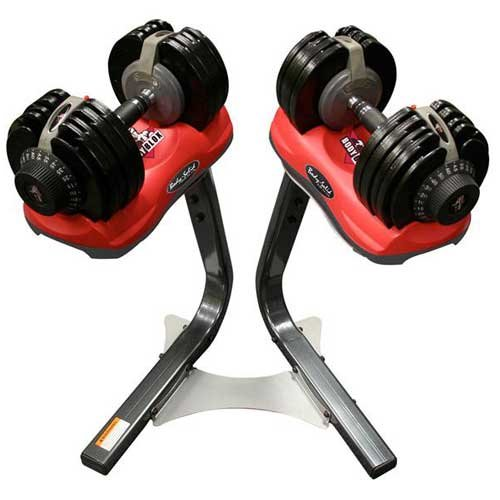 Red Neoprene Dumbbell Set: Body Solid Body-Blox 10-65 Lbs. Adjustable Dumbbell Set