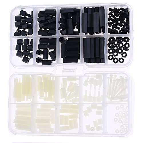 Hilitchi 240pcs M2 M3 Male Female Nylon Hex Spacer Standoff Screw Nut Assortment Kit