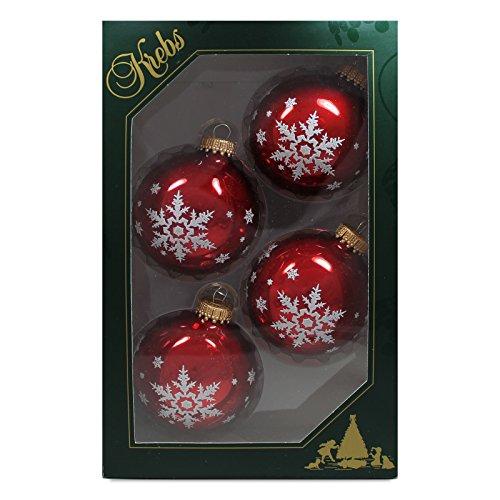4er-Set-Weihnachtskugeln-Christbaumkugeln-Kugeln-rubinrot-mit-Schneeflocken-mundgeblasener-Baumschmuck-aus-Glas--ca-7-cm
