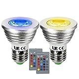 LE LEDスポットライト 3W形 E27口金 変色 調光対応 ビーム角30° RGB 16色選択 リモコン付き 2個セット