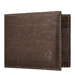 Corkor Mens Slim Wallet Dark Brown Cork