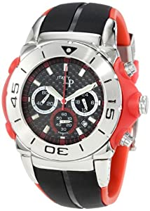 Lucien Piccard Men's LP2110RD Maranello Chronograph Black Carbon Fiber Dial Black and Red Rubber Watch