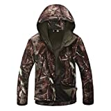 Eglemall Men's Outdoor Hunting Soft Shell Waterproof Tactical Fleece Jackets (Large, Tree Camo)