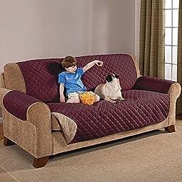 Deluxe Reversible Sofa Furniture Protector, Burgundy / Tan