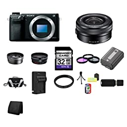 Sony Alpha NEX-6 Mirrorless Digital Camera with 16-50mm Zoom Lens (Black) 32GB Package 3