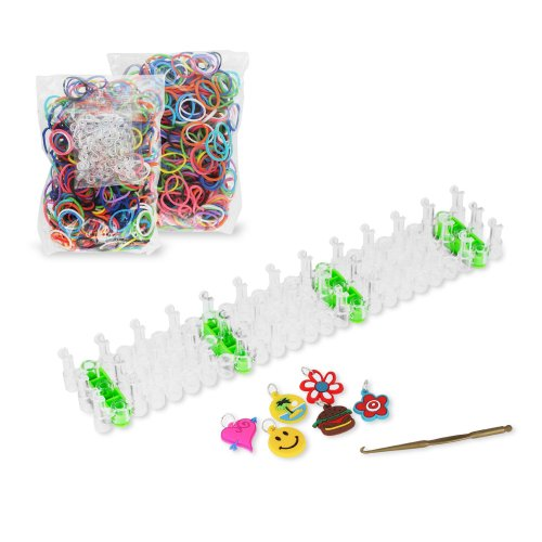Chromo Inc® Starburst Loom Band Kit with Loom Board, 600 Xtra Strength Loom Bands, 6 Assorted Charms, S-Clips and Loom Tool in Retail Packaging