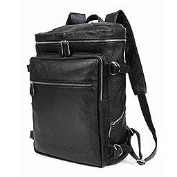 BAIGIO Unisex Genuine Leather Multi-Function Travel Backpack Large Capacity Daypack Fit 16\