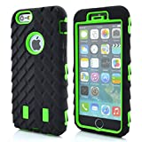 Meaci® Cellphone Case for Iphone 6 Plus 5.5 Inch Case 3in1 Tire Stripe Combo Hybrid Defender High Impact Body Armorbox Hard Pc&silicone Protective Bumper Case (Tire green)