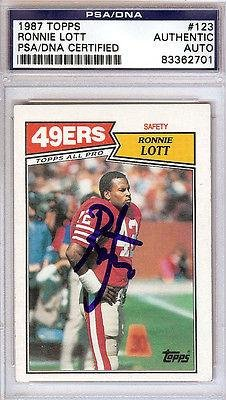Ronnie Lott Autographed Signed 1987 Topps Card #83362701 - PSA/DNA Certified - Football Slabbed Autographed Cards