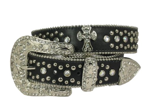 Black Rhinestone Studded Belt