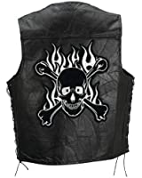 Diamond Plate Rock Design Genuine Buffalo Leather Motorcycle Vest with Skull and Crossbones Embroidered Patch Size Large
