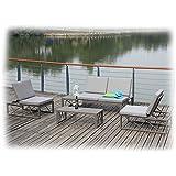 AVA Gartenmöbel Lounge Gartenset 9-teilig Zebra Taupe & Grau