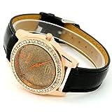 Conbays Black Band Brown Round Dial Crystal Girls Quartz Wrist Watch Women Lady Gift Luxury