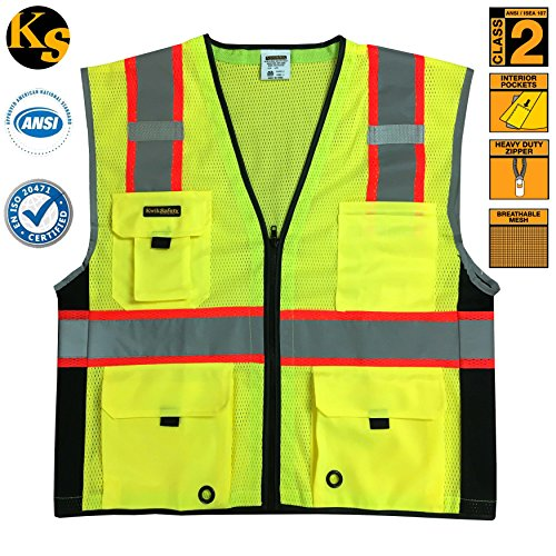KwikSafety Class 2 Deluxe High Visibility Safety Vest with Reflective Strips and Pockets - Meets ANSI/ISEA Standards, Yellow Reflective Safety vest, Size 4XL/5XL