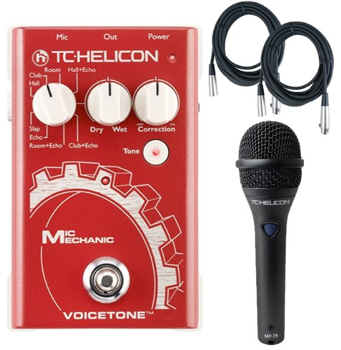 Tc-Helicon Mic Mechanic Vocal Effects Pedal W/Tc Helicon Mp-75 Microhpone And 2 Free (20') Xlr Cables